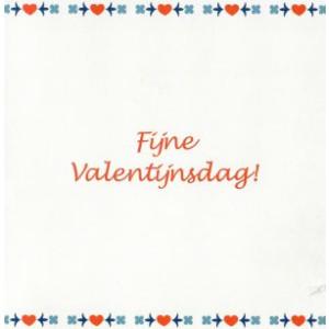 Valentijnskaart fijne valentijnsdag rood wit blauw