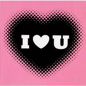 moderne valentijnskaart I love you roze met zwart