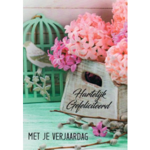 Felicitatiekaart met mooi roze bloemen