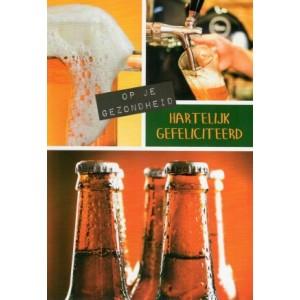 Felicitatiekaart met een passe-partout met allerlei biertjes
