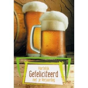 Wenskaart felicitatie met twee pullen bier