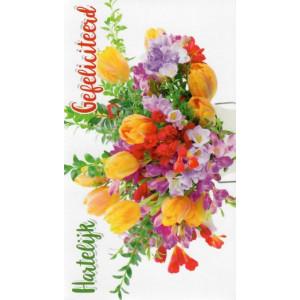 wenskaart hartelijk gefeliciteerd grote bos bloemen