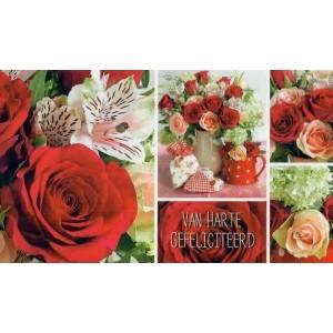 Cadeau envelop van harte gefeliciteerd met rode en roze rozen