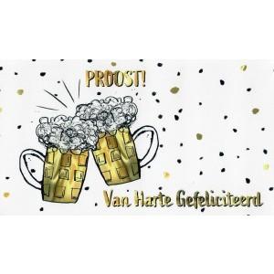 Cadeau envelop van harte gefeliciteerd met twee proostende bierpullen