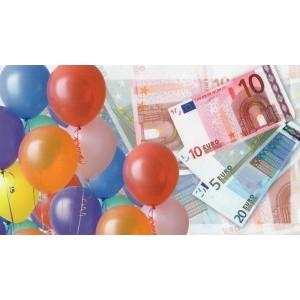Cadeau envelop zonder tekst met afbeeldingen van briefgeld en ballonnen