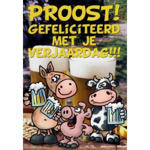 proost gefeliciteedd met je verjaardag dieren met pul bier