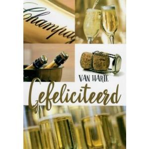 wenskaart van harte gefeliciteerd met verschillende afbeeldingen van champagne