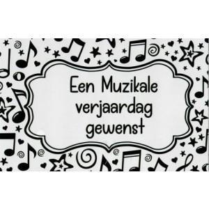 zwart witte wenskaart een muziekale verjaardag gewenst