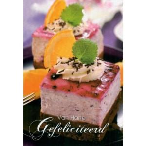 Felicitatiekaart met de afbeelding van kleurrijk gebak