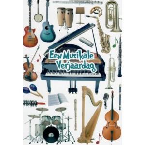 Wenskaart een muzikale verjaardag met allerlei instrumenten