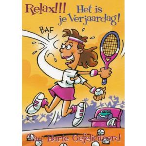 verjaardagskaart met vrouw die tennis speelt relax