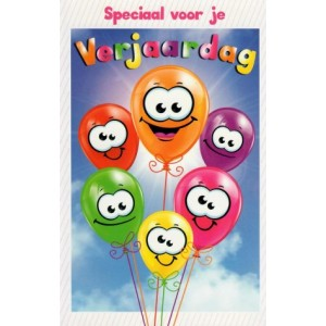 Wenskaart speciaal voor je verjaardag met allerlei gekleurde ballonnen