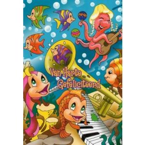 Wenskaart van harte gefeliciteerd voor kinderen met afbeeldingen van zeedieren die muziek maken
