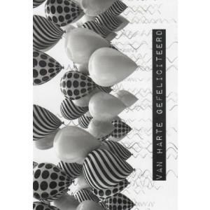 kaartje van harte gefeliciteerd zwart wit met ballonnen