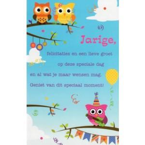 verjaardagskaart jarige met grappige vogeltjes een een lief stukje tekst