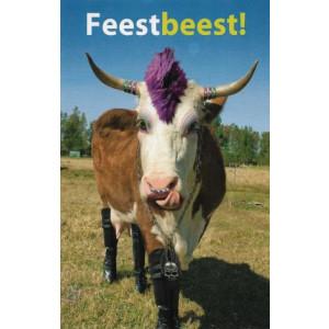 wenskaart feestbeest met een foto van een koe