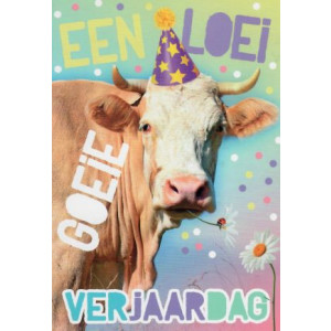 wenskaart met een koe een loeigoeie verjaardag