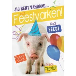 kaartje bestellen gefeliciteerd feestvarken varken met slingers