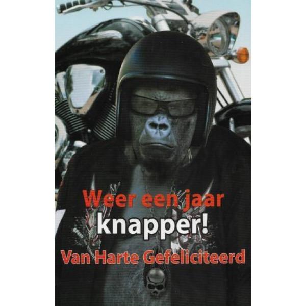 wenskaart weer een jaar knapper met aap als motorrijder