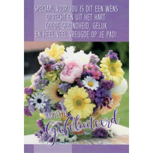 Hartelijk gefeliciteerd bloem met een gedicht