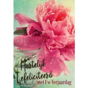 wenskaart hartelijk gefeliciteerd met uw verjaardag met roze bloem in vaas