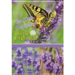 van harte gefeliciteerd met je verjaardag vlinder en lavendel op wenskaart