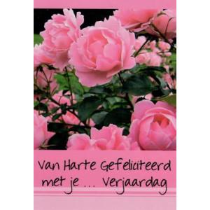 verjaardagskaart invulbaar met roze bloemen
