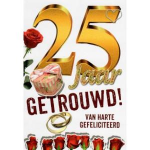 wenskaart 25 jaar getrouwd met gouden letters en rozen