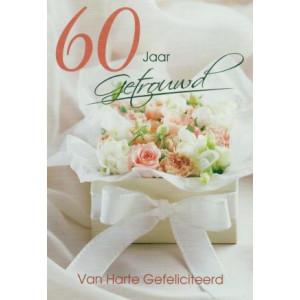 wenskaart 60 jaar getrouwd wit met boeket