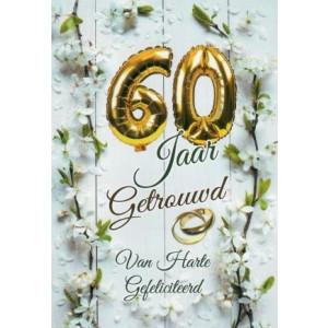 wenskaart met gouden ballonnen voor een 60-jarig huwelijkspaar