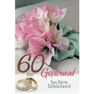 wenskaart 60 jaar getrouwd met roze bloemen