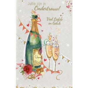 Wenskaart voor ondertrouw met fles champagne en slingers