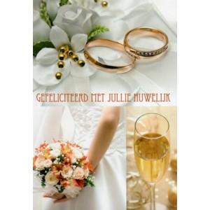 wenskaarten van harte gefeliciteerd met jullie huwelijk ringen bruidsboeket champagne