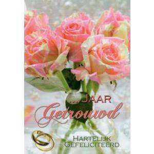 wenskaart invulbaar trouwdag met bloemen in een vaas