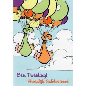 wenskaart een tweeling baby in doeken met ballonnen