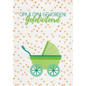 kaartje opa en oma geworden met een kinderwagen omringd door hartjes