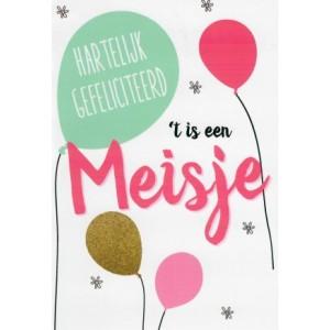 """""""t Is een meisje, hartelijk gefeliciteerd met ballonnen POSkaart groothandel in wenskaarten"""