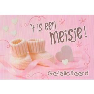 Wenskaart 't Is een meisje met roze sokjes