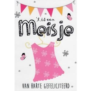 Wenskaart een meisje, van harte gefeliciteerd met een roze jurkje