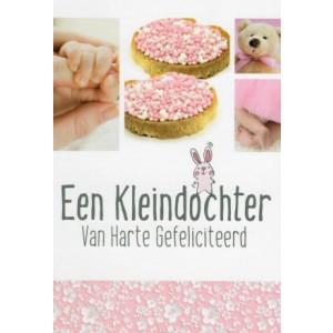 Wenskaart een kleidochter! van harte gefeliciteerd met afbeeldingen van roze muisjes, babyhandjes- en voetjes en een teddybeer