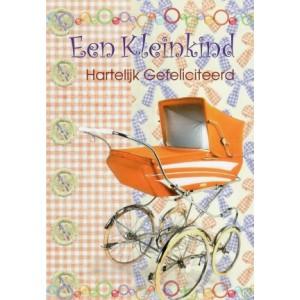 Wenskaart kleinkind geboren met een oranje kinderwagen