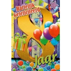 van harte 8 jaar met veel ballonnen en een cadeau