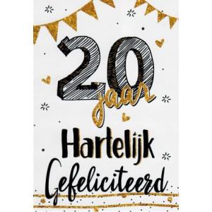 zwart wit met goud wenskaart 20 jaar hartelijk gefeliciteerd