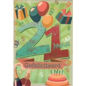 wenskaart met ballonnen taart en cadeaus 21 jaar