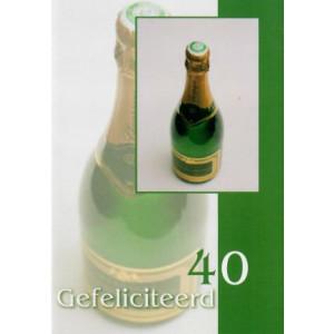 groene wenskaart gefeliciteerd 40 jaar met fles champagne