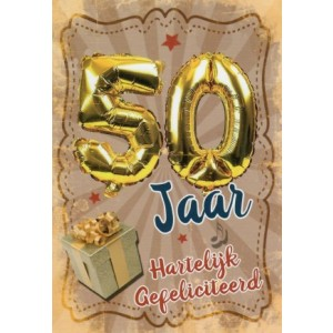 vrolijke wenskaart gefeliciteerd 50 jaar