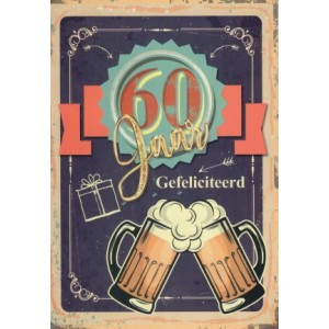 wenskaart 60 jaar gefeliciteerd met de afbeelding van twee proostende bierpullen