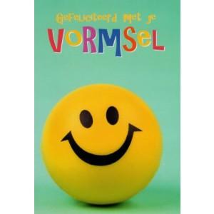 Een gele smiley op wenskaart vormsel