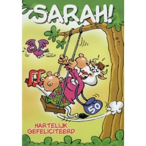 wenskaarten Sarah 50 jaar met een koe die op een schommel zit