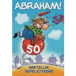 Felicitatiekaart abraham met een stier die op een skippybal stuitert